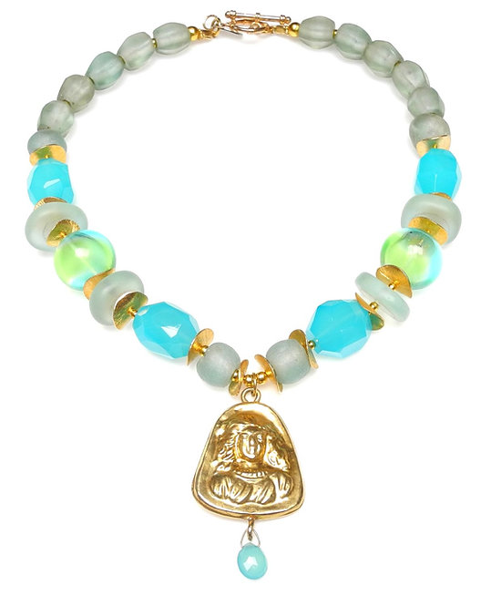 Chalcedony & Glass Necklace with Antique Gold Pendant