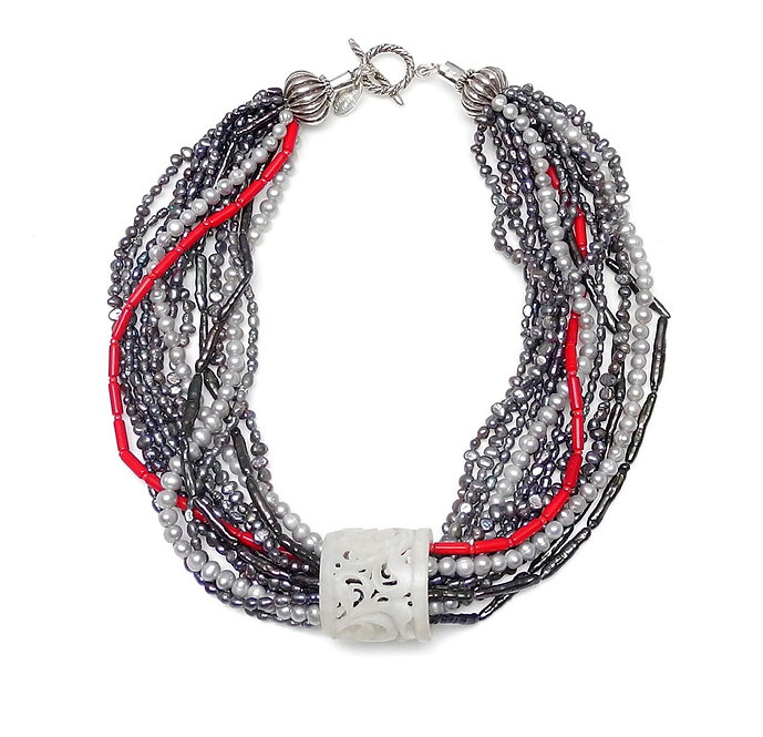 Multi-Strand Grey Pearls & Coral Necklace with White Jade Thumb Guard