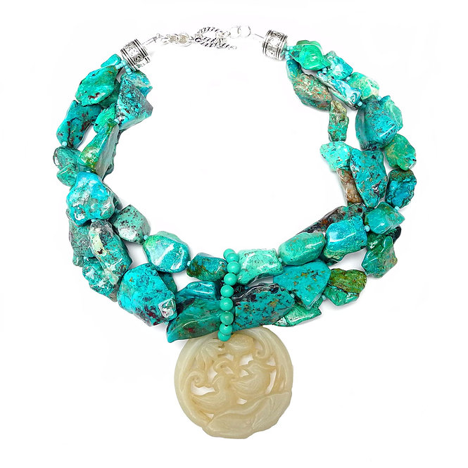 The Vibrant Impact of a Turquoise Chrysocolla Necklace & Celadon Jade