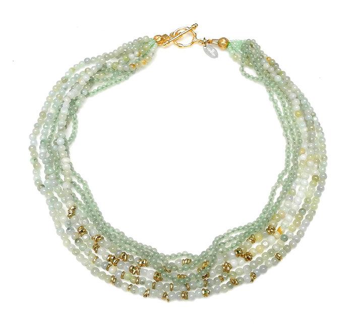 Multi-Strand Green Jade, Aventurine & Brass Necklace