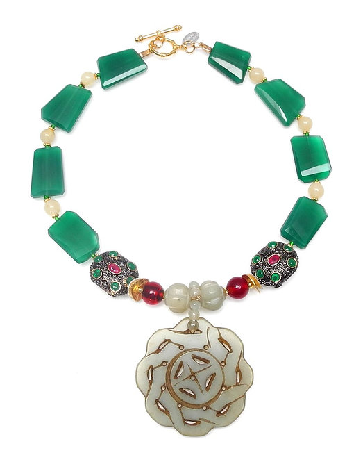 Rich Green Aventurine Necklace with Gold/Ruby Beads & Celadon Jade