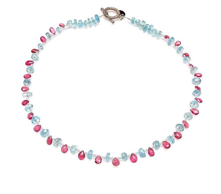 Chic Aquamarine & Pink Tourmaline Make Easy to Wear Necklace