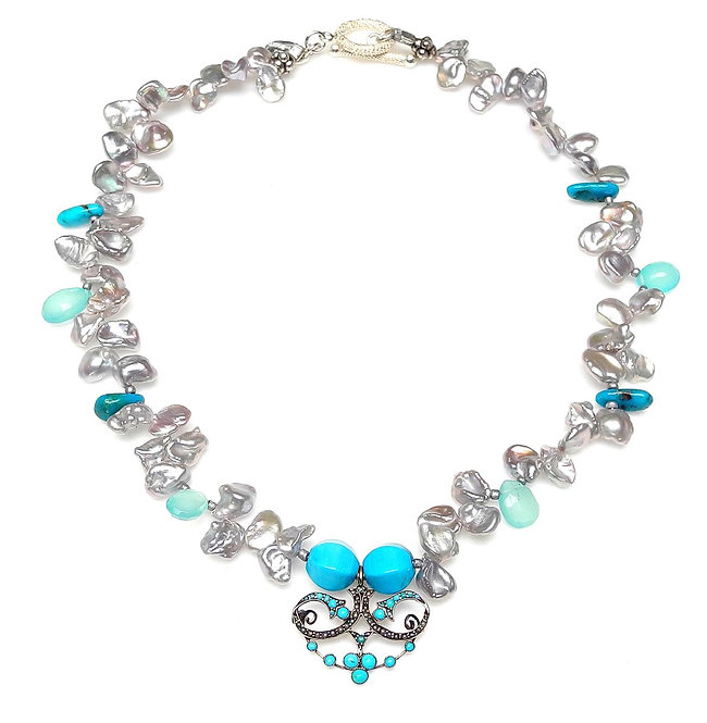 Fine Antique Turquoise Pendant on Delicate Silver Pearl & Turquoise Necklace