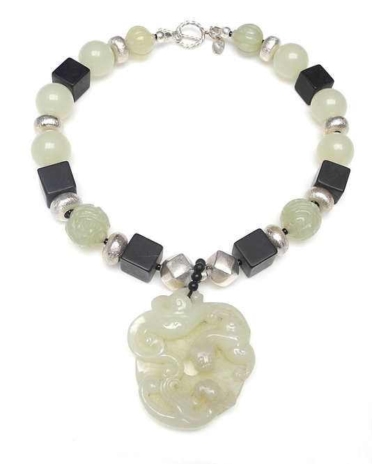 Large Celadon Jade Dragon Disc Graces Onyx, Silver & Jade Necklace