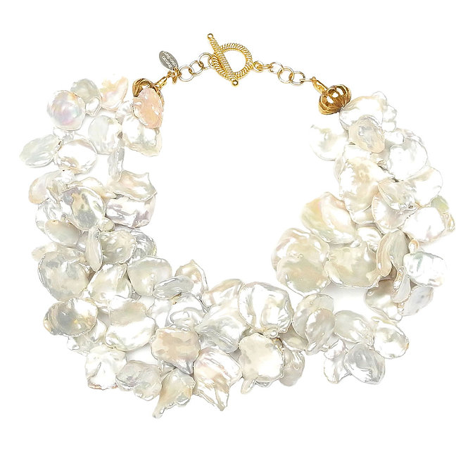 A Startingly Stunning Necklace of Large, Bright White Keshi Pearls