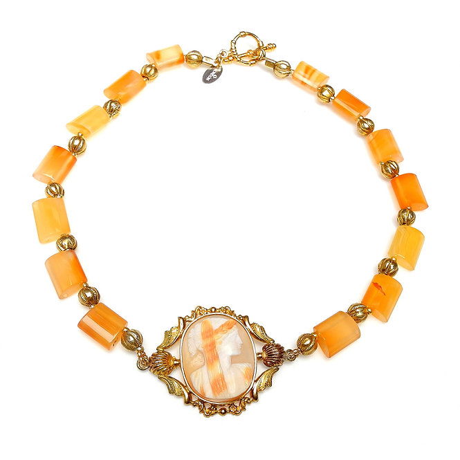 Light Carnelian & Gold Necklace Complements Antique Cameo