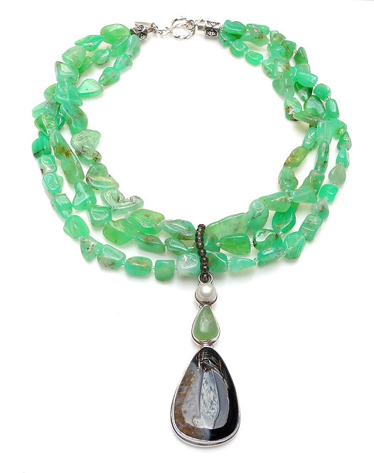 Luscious Green Chrysoprase Multi-Strand Necklace & Agate Pendant