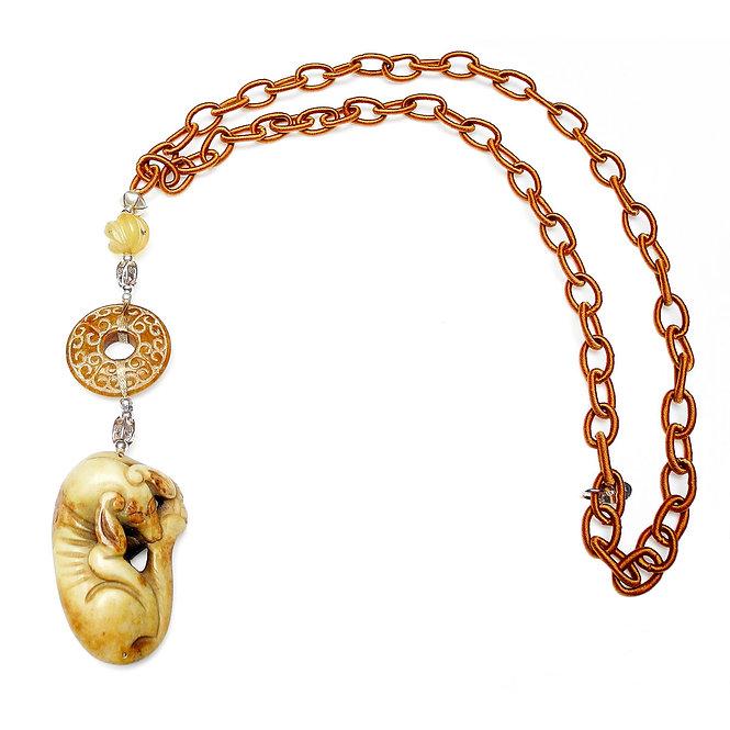 Long Tan Silk Chain with Jade Dog & Multi Jade Beads