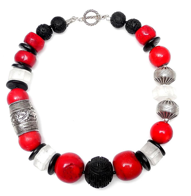 Bold Red Coral, Black Lacquer, Crystal & Silver Necklace