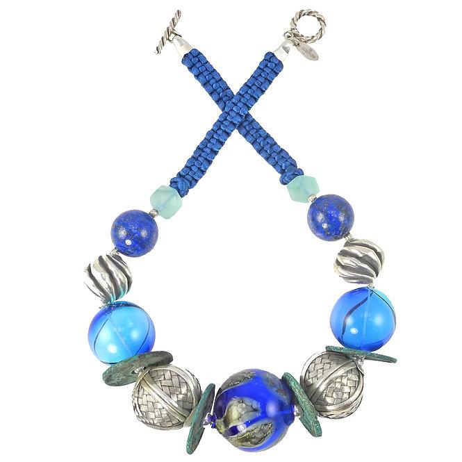 Amazing Silver, Lapis & Glass Statement Necklace