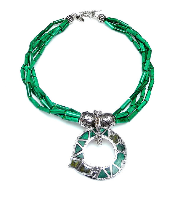 Malachite Multi-Strand Necklace with Antique Silver, Malachite Pendant