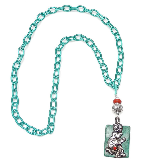 Long Turquoise Silk Chain with Tibetan Silver Monkey Pendant on Turquoise