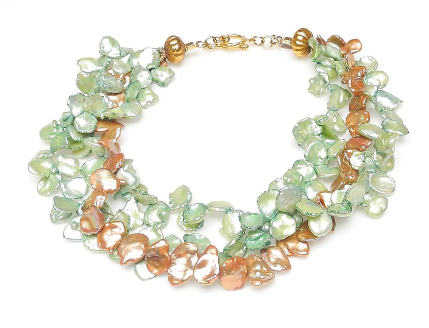 Multi-Strand Necklace of Green & Tan Keshi Pearls