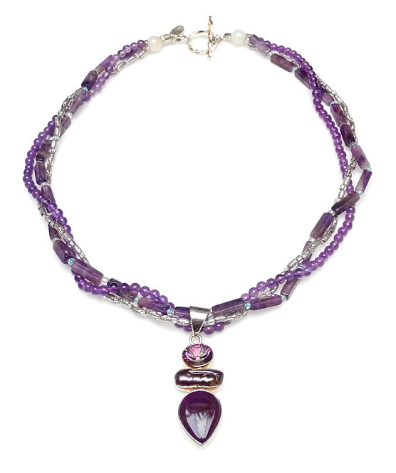 Multi-Strand Twist of Amethyst & Pearl Necklace with Pearl Pendant
