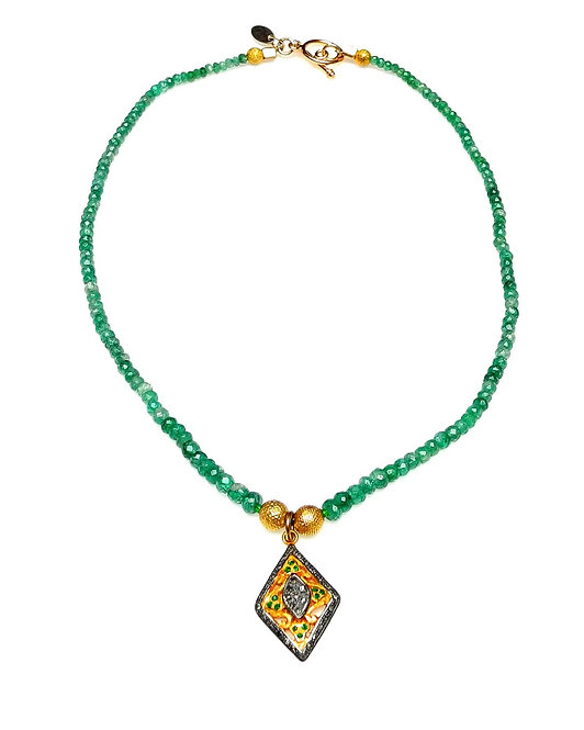 Emerald Necklace with Indian Gold, Emeralds & Diamond Pendant