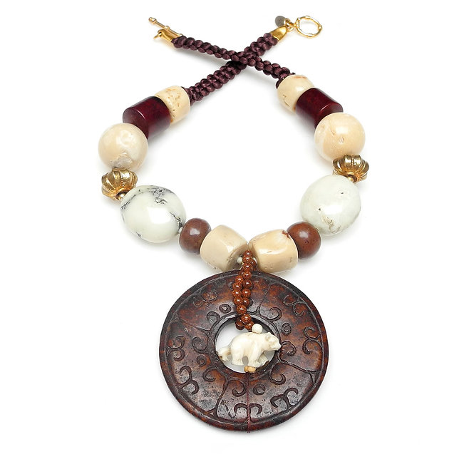 Brown Jade Disc with White Bone Polar Bear Inside on Cream Coral Necklace