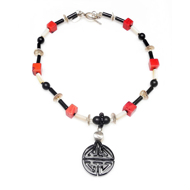 Light Necklace of Chinese Onyx Pendant, Coral & Silver