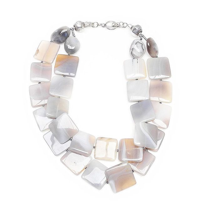 Elegant Grey Panels of Agate Form Double Strand Necklace