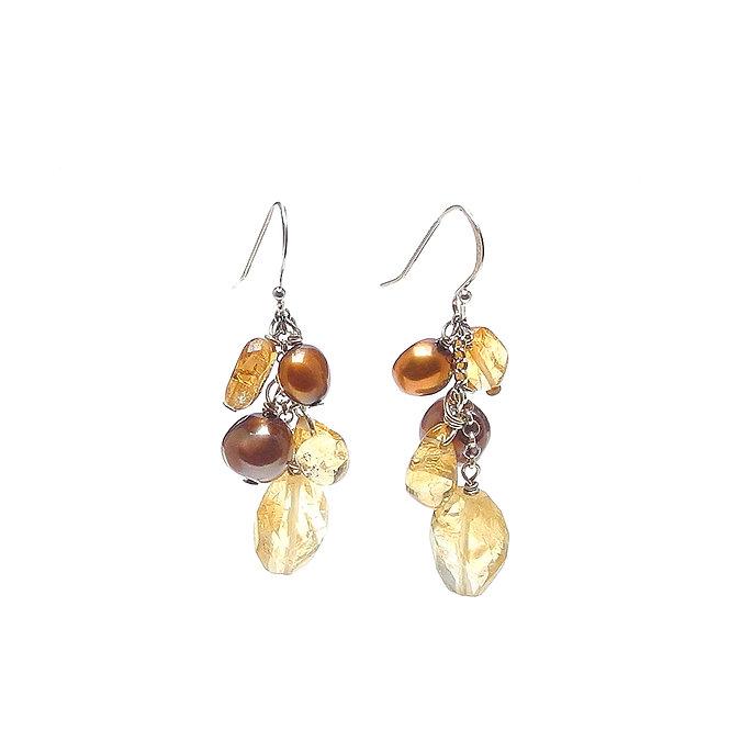 Elegant Natural Citrine and Cultured Tan Baroque Pearl Dangle Earrings