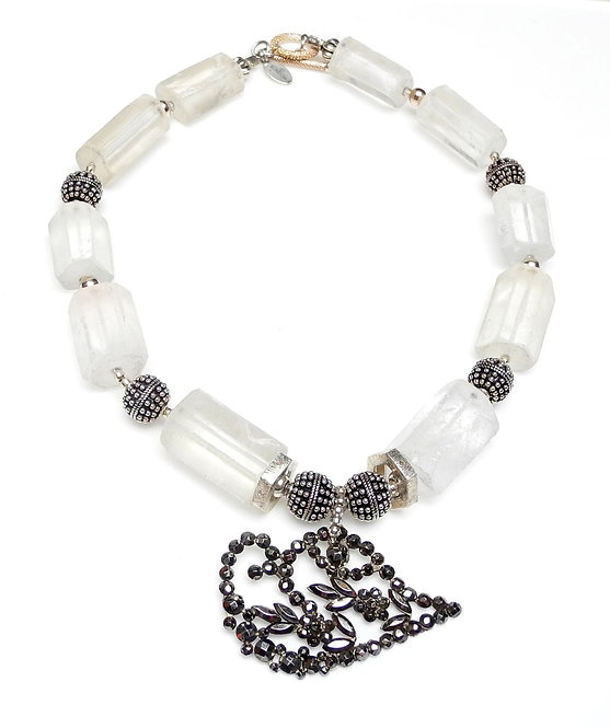 Elegant Crystal Necklace with Antique Cut Steel Buckle