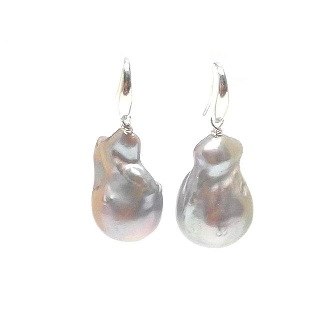 Large, Cultured Silver-Grey Baroque Pearl Drop Earrings