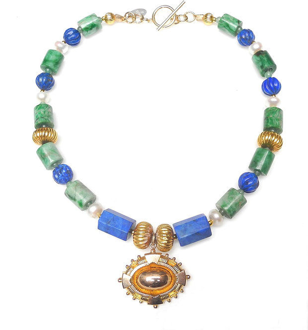 Superb Lapis, Jade & Pearl Necklace with Rich, Antique Gold Pendant