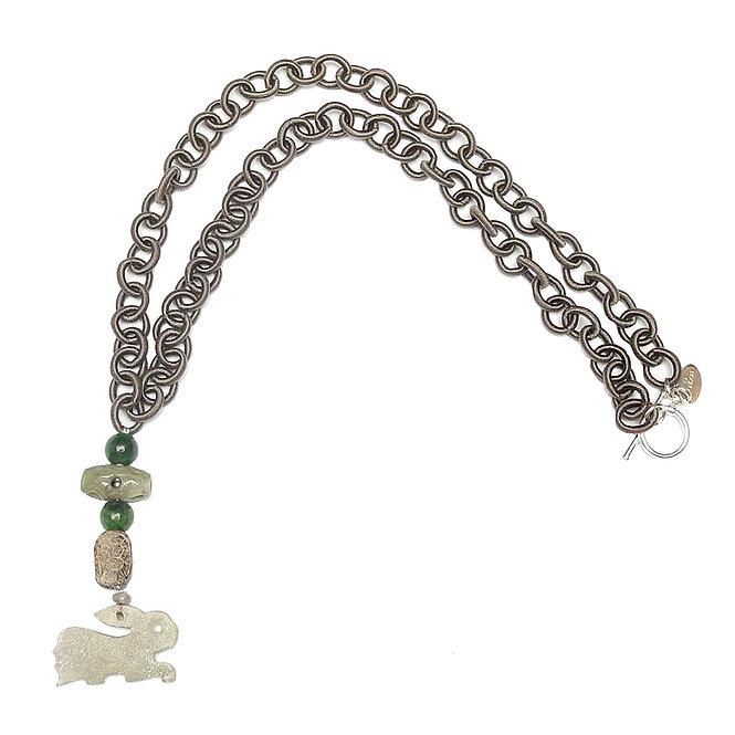 Antique Jade Hare Runs on a Grey Silk Chain