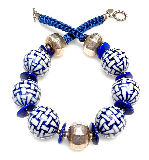 Blue & White Theme Necklace with Lapis, Pottery & Silver