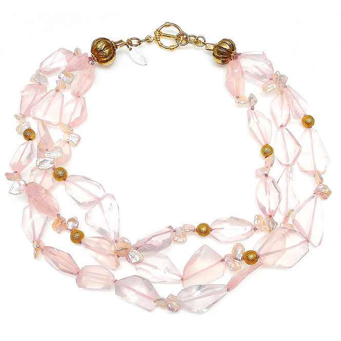 Exquisite Clear Rose Quartz & Gold Multi-Strand Necklace