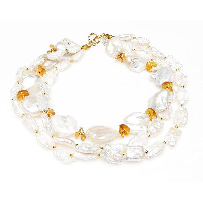 Bright, White, Large Baroque Pearl & Gold Multi-Strand Necklace