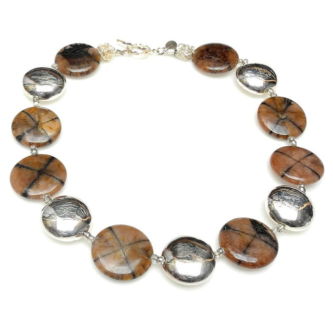 Nut-Brown Discs of Chiastolite Mix in Necklace of Silver Discs