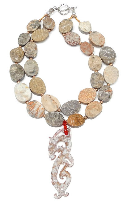 Exotic Tan Jade Dragon Graces Double Strand Necklace of Fossilized Coral