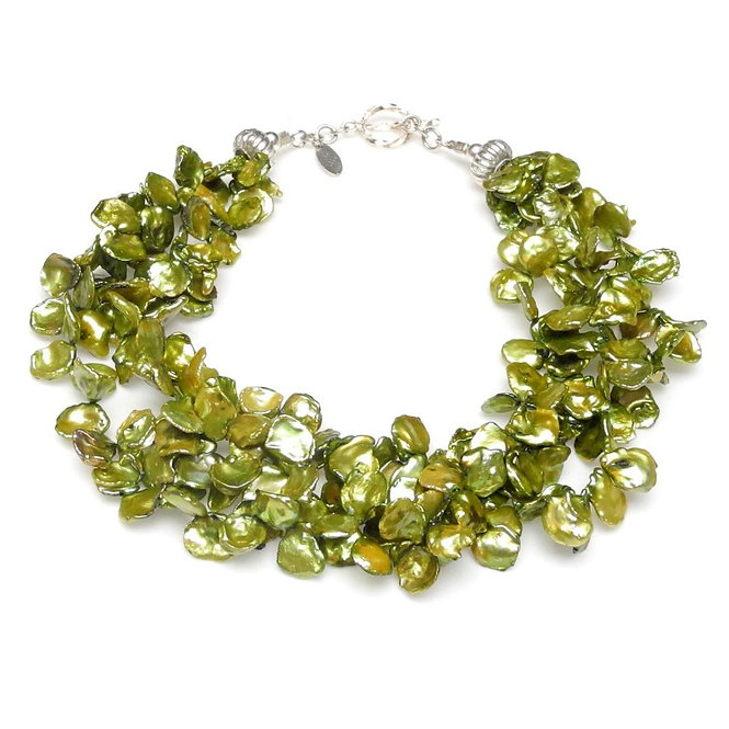 Lime Green Keshi Pearl Multi-Strand Necklace