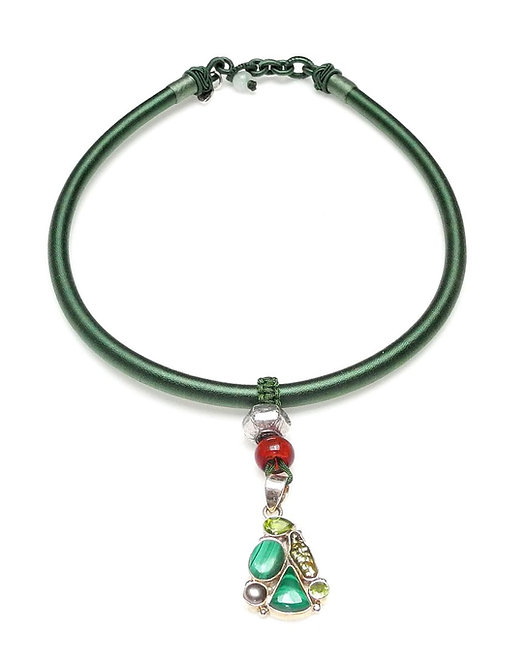 Green Silk Band Necklace with Malachite Silver Pendant