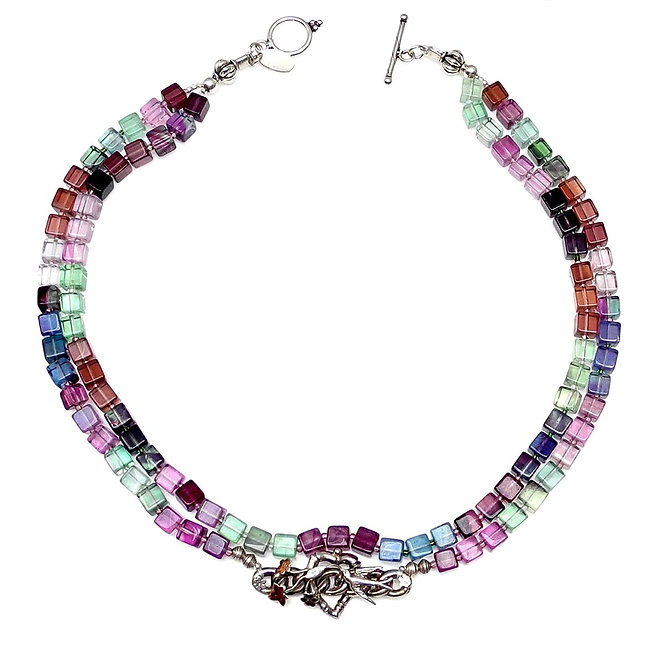 Rainbow Fluorite Double Strand Necklace with Antique Silver Pendant