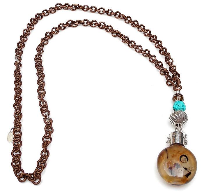 Long Brown Silk Chain with Antique Agate & Silver Chinese Snuff Bottle