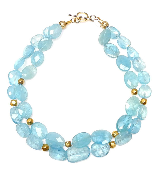 Exceptional, Double Strand Aquamarine & Gold Necklace
