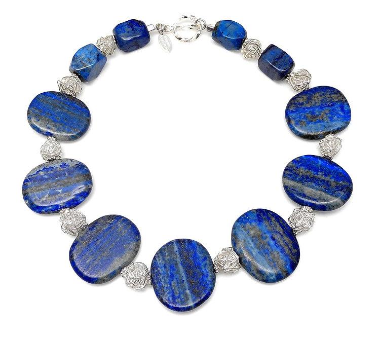 Flat, Mat Lapis Ovals & Silver Necklace