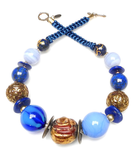 Chunky Lapis Necklace of Blues with Glass, Brass & Wood