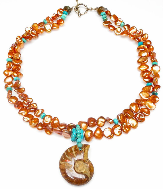 Ancient Ammonite Graces Multi Strands of Russet Pearls & Turquoise
