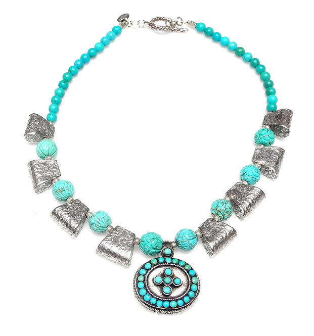 Turquoise & Silver Pendant Graces Turquoise & Silver Necklace