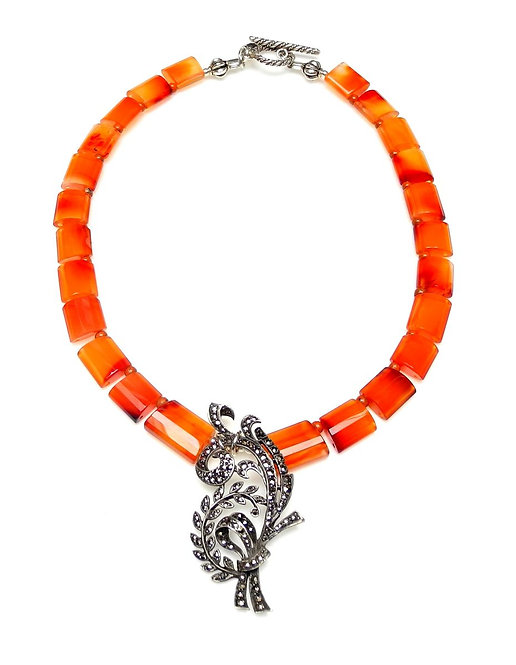 Head Turning Carnelian Necklace with Antique, Art Deco, Marcasite Pendant