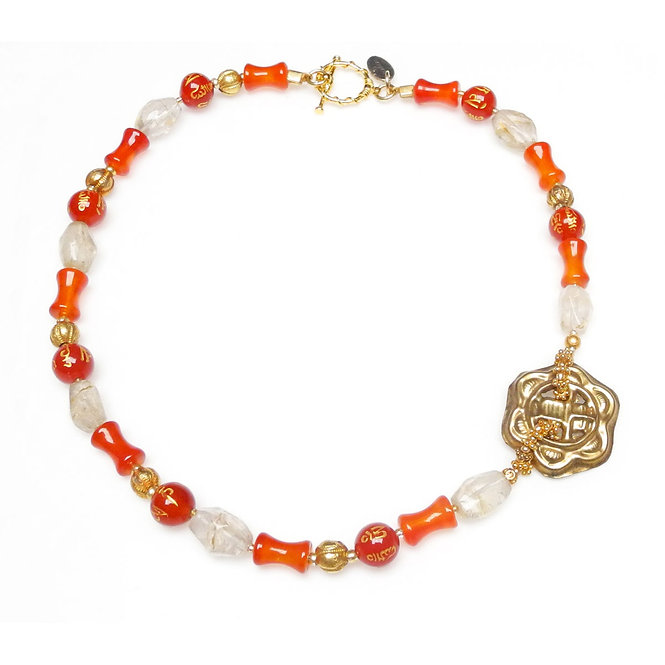 Slim Carnelian & Crystal Necklace with Gold & Chinese Button