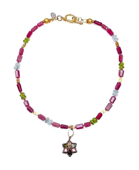 Exquisite Tourmaline & Diamond Star Graces Tourmaline & Aqua Necklace