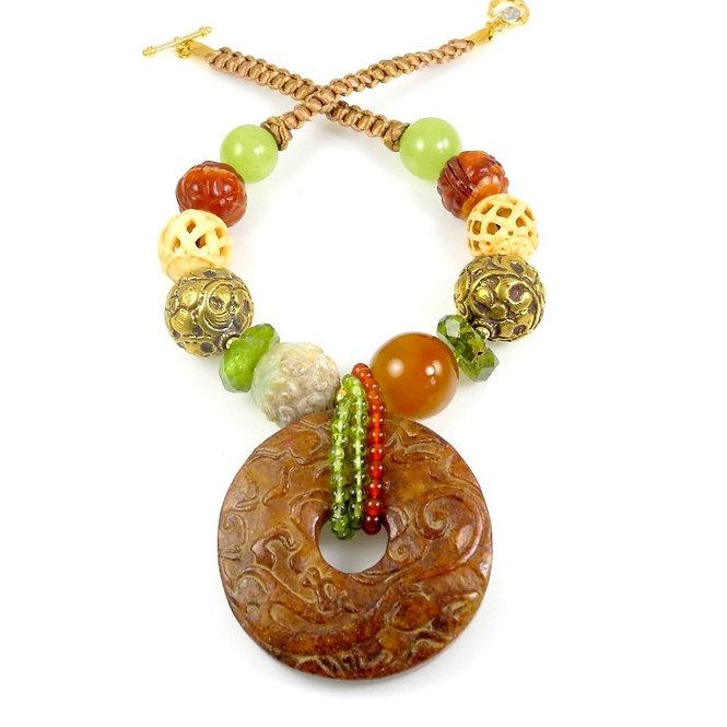 Rich Tan Jade Dragon Disc on Lime Peridot, Brass & Carnelian Necklace