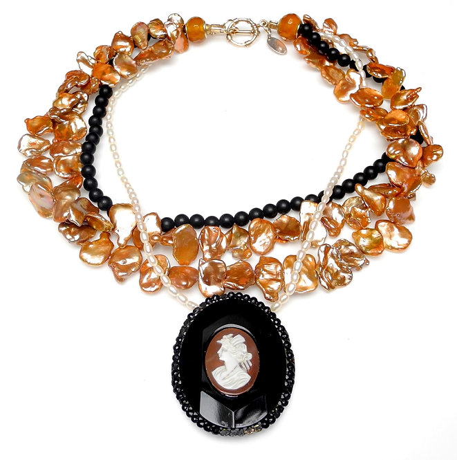 Stunning Necklace of Antique Jet Cameo, on Multi-Strands of Pearls