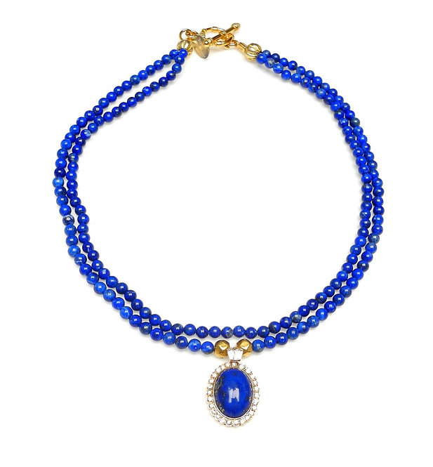 Stylish, Delicate, Double Strand Lapis Necklace with Gold Lapis Pendant