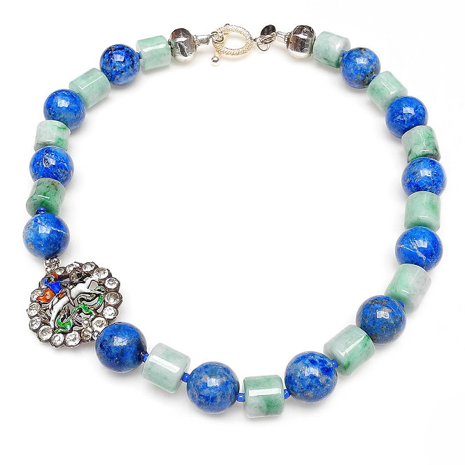 Lapis & Green Jade Necklace with Charming Antique Enamel Button