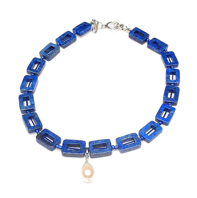 Sophisticated Lapis Necklace with Single White Pearl