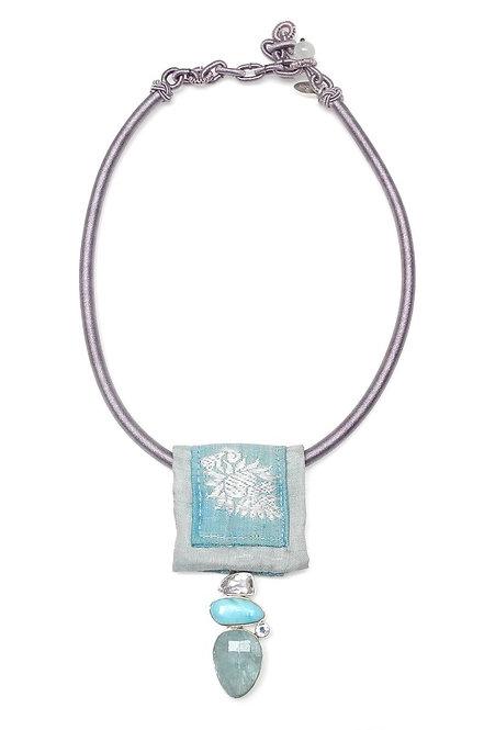 Grey Silk Band with Antique Sari Piece & Aquamarine Pendant